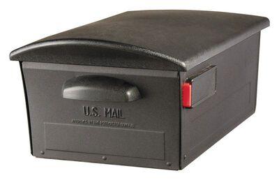 Solar Group Gibraltar Large Steel/Polymer Post Mounted Locking Mailbox Black 9-3/8 in. H x 21-