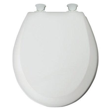 Mayfair Never Loosens Round White Wood Toilet Seat