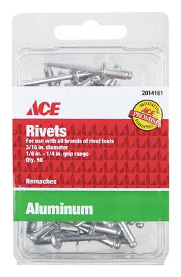 Ace 3/16 in. Dia. x 1/4 in. Aluminum Rivets 50 pk