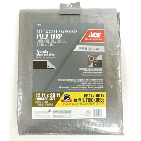 Ace Silver/Black Heavy Duty Tarp 12 ft. W x 20 ft. L