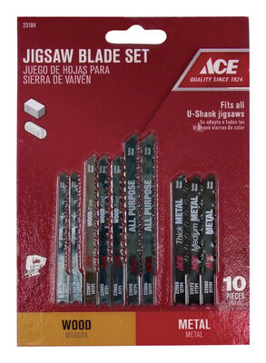 Ace High Carbon Steel Universal Jig Saw Blade Set 10 pk