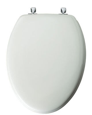 Mayfair Elongated White Wood Toilet Seat