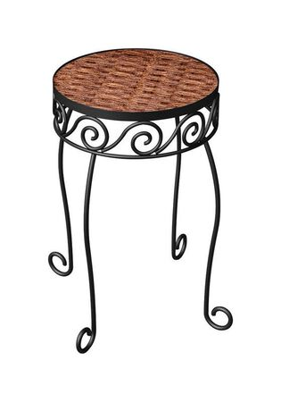Panacea Brown Steel and Wicker Ground Plant Stand 16-1/2 in. H x 10-1/4 in. W