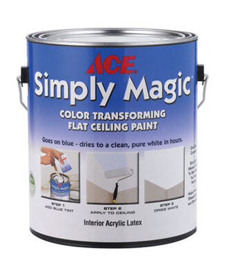Ace Simply Magic Flat Latex Low VOC Ceiling White (Disappearing Blue) 1 gal. Paint