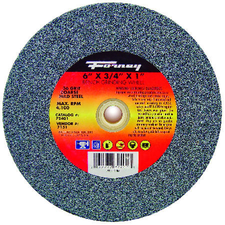 Forney 6 in. Dia. x 1 in. x 3/4 in. thick Bench Grinding Wheel