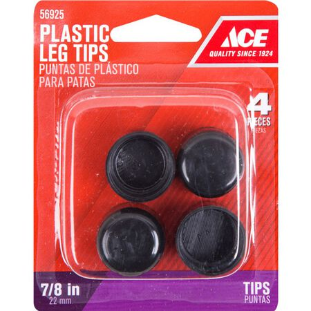 Ace Plastic Round Leg Tip Black 7/8 in. W 4 pk
