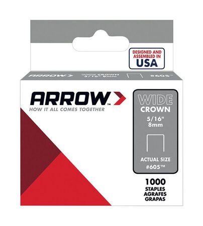 Arrow Fastener #605 Wide Crown Standard Staples Galvanized Steel 5/16 in. L 1000 pk