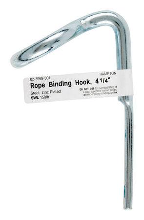 Hampton 4.125 in. L Zinc-Plated Steel Rope Binding Hook 1 pk