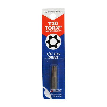 Best Way Tools T30 Torx Screwdriver Bit 1/4 in. Dia. x 1 in. L 1 pc.