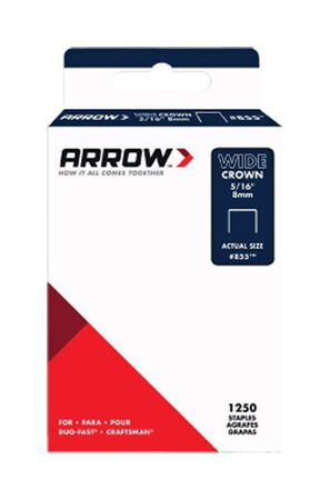 Arrow Fastener #855 Wide Crown Standard Staples Galvanized Steel 5/16 in. L 1250 pk
