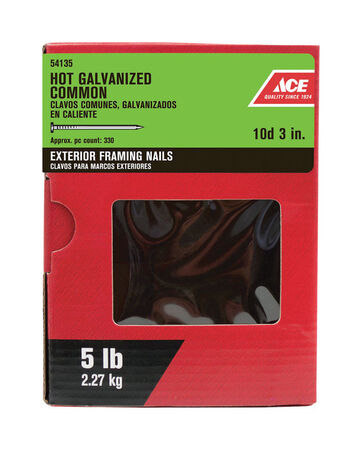 Ace Flat 3 in. L Common Nail Smooth Hot-Dipped Galvanized Steel 5 lb.
