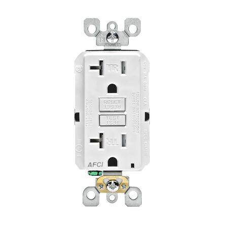 Leviton Decora Tamper Resistant AFCI Receptacle 20 amps 5-20R 125 volts White