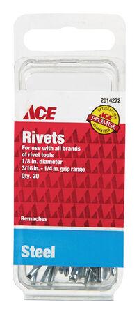 Ace 1/8 in. Dia. x 1/4 in. Steel Rivets 20 pk