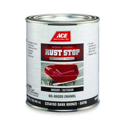 Ace Interior/Exterior Rust Stop Oil-based Enamel Paint Dark Bronze Satin 1 qt.