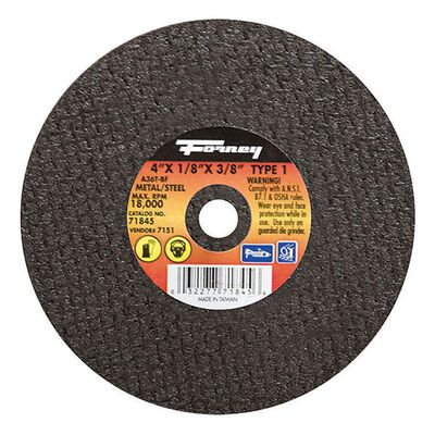 Forney 4 in. Dia. x 1/8 in. thick x 3/8 in. Metal Cut-Off Wheel
