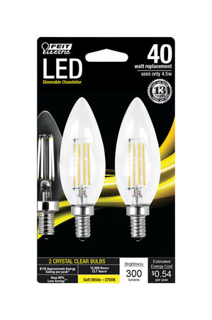 FEIT Electric LED Bulb 4.5 watts 300 lumens 2700 K Decorative Blunt Tip Soft White 40 watts equ