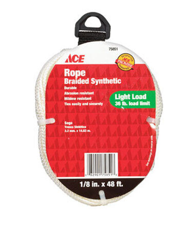 Ace 1/8 in. Dia. x 48 ft. L Braided Nylon Rope White