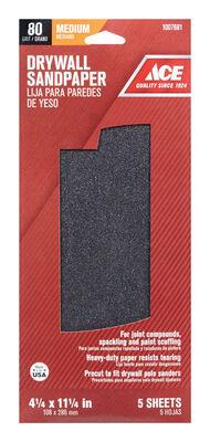 Ace Silicon Carbide Sandpaper 11-1/4 in. L 80 Grit Fine 5 pk