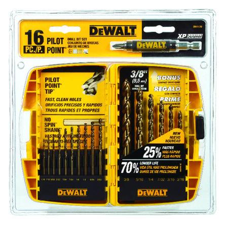 DeWalt Pilot Point Ferrous Oxide Multi Size in. Dia. Drill Bit Set 16 pc.