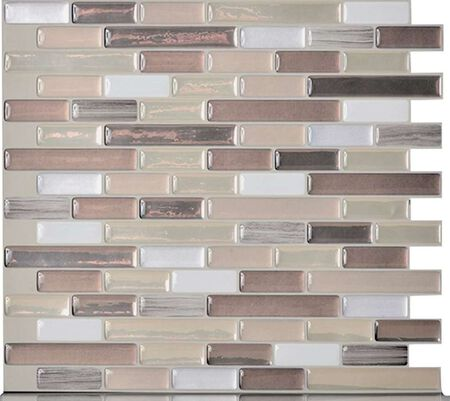 Smart Tiles Durango SM1053-6 Mosaic Wall Tile, 10-1/4 in L, 9.13 in W, 3/4 in Thick, Composite Vinyl, Beige/Tan 6 Pack