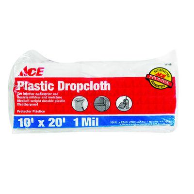 ACE Medium Weight Plastic Drop Cloth 10 ft. W x 20 ft. L x 1 mil
