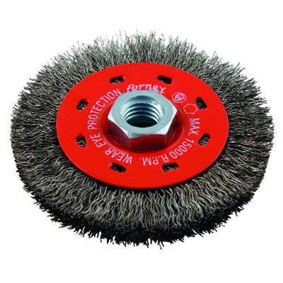 Forney 4 in. Dia. Crimped 5/8 in. - 11 Wire Wheel Brush 15000 rpm