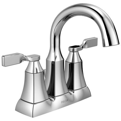 Delta Sawyer Two Handle Lavatory Pop-Up Faucet 4 in. Chrome