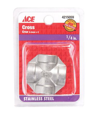 Smith-Cooper 1/4 in. Dia. x 1/4 in. Dia. x 1/4 in. Dia. FPT To FPT To FPT Stainless Steel Cross