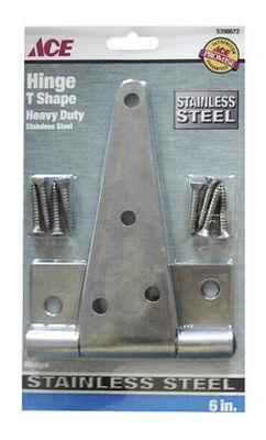 Ace Metal Heavy Duty T Hinge 6 in. L Stainless Steel 1 pk