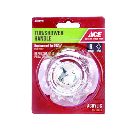 Ace Acrylic Clear Hot and Cold Tub and Shower Handle