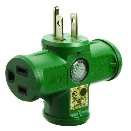 Ace Grounded Triple Outlet Adapter Green 15 amps 125 volts 1 pk