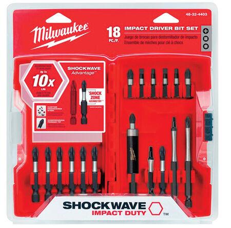 Milwaukee Shockwave Impact Driver Screwdriver Bit 1/4 in. Dia. x 3 in. L 18 pc.