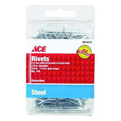 Ace 1/8 in. Dia. x 1/2 in. Steel Rivets 100 pk