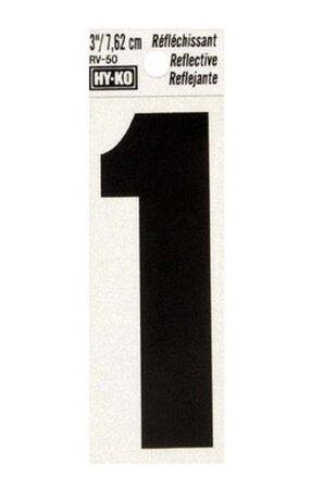 Hy-Ko Self-Adhesive Black Reflective Vinyl Number 1 3 in.
