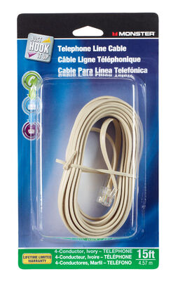 Monster Cable 15 ft. L Ivory Modular Telephone Line Cable