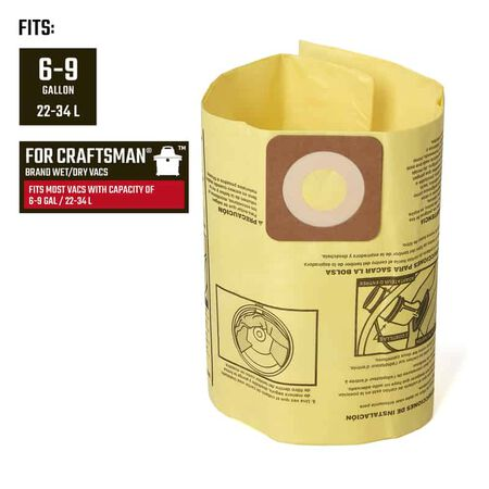Craftsman 2 in. L x 10 in. W Wet/Dry Vac Filter Bag 6-9 gal. 2 pc.