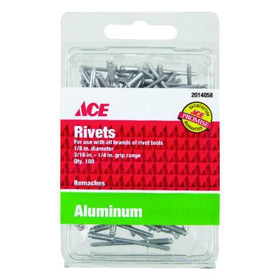 Ace 1/8 in. Dia. x 1/4 in. Aluminum Rivets 100 pk