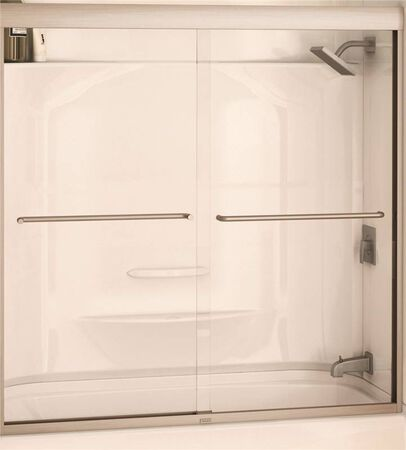 MAAX Semi-Frameless Bathtub Door, 55 - 59 in W x 57 in H x 6 mm T, Glass, Clear, Braced Nickel