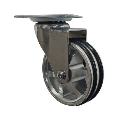 Shepherd Hardware Polyurethane/Aluminum 3 in. Dia. Swivel Caster Chrome 100 lb.