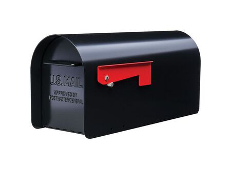 GIBRALTAR Sleek traditional Galvanized Steel Post Mounted Mailbox black 9.6 in. H x 20.3 in.