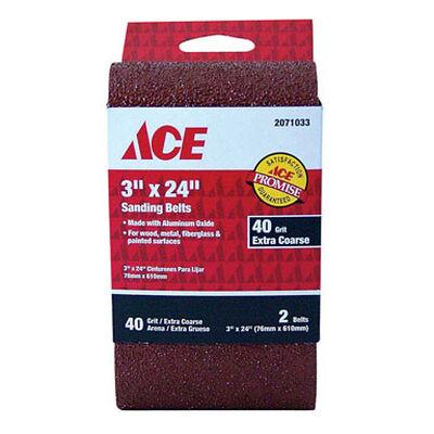 Ace Sanding Belt 3 in. W x 24 in. L 40 Grit Extra Coarse 2 pk