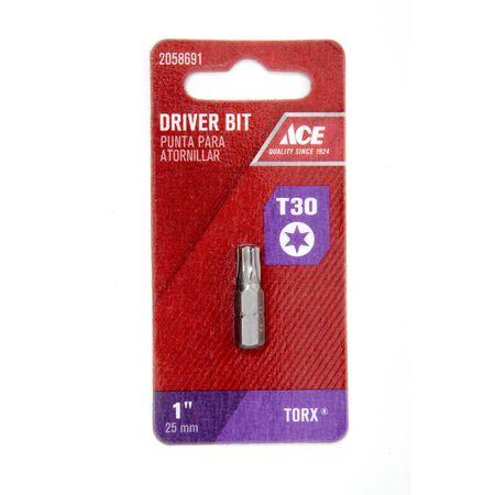 Ace T30 Torx Screwdriver Bit 1/4 in. Dia. x 1 in. L 1 pc.