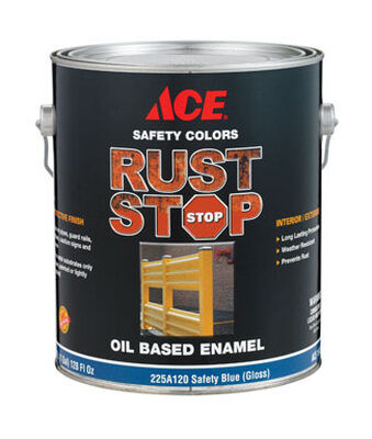 Ace Interior/Exterior Rust Stop Oil-based Enamel Paint Safety Blue Gloss 1 gal.