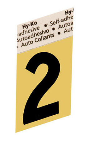 Hy-Ko Self-Adhesive Black Aluminum Number 2 1-1/2 in.