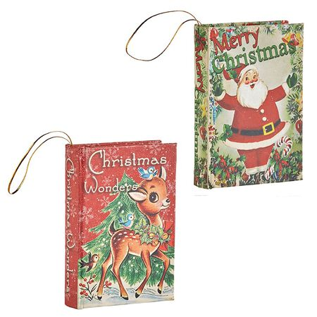 "5.5"" Santa and Reindeer Book Ornament"