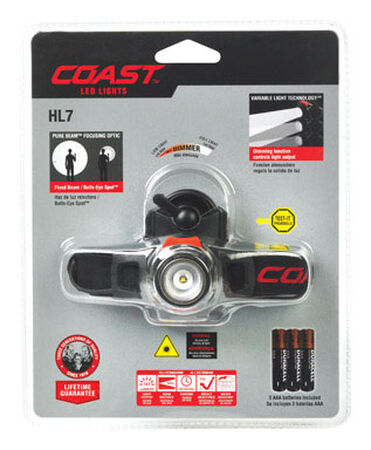 Coast HL7 285 lumens Headlight LED AAA Black
