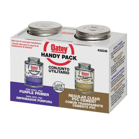 Oatey Handy Pack Clear/Purple PVC/CPVC Primer and Cement 4 oz.