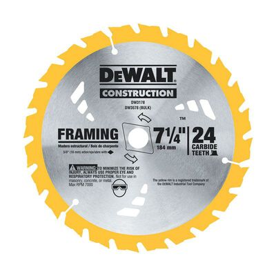 DeWalt 7-1/4 in. Dia. x 5/8 in. Construction Carbide Tipped Circular Saw Blade 24 teeth 2 pk