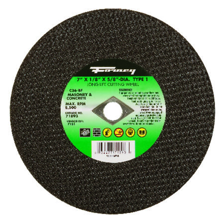 Forney 7 in. Dia. x 1/8 in. thick x 5/8 in. Masonry Cutting Wheel