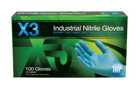 Xtreme X3 Nitrile Industrial Gloves Large 100 pk Blue